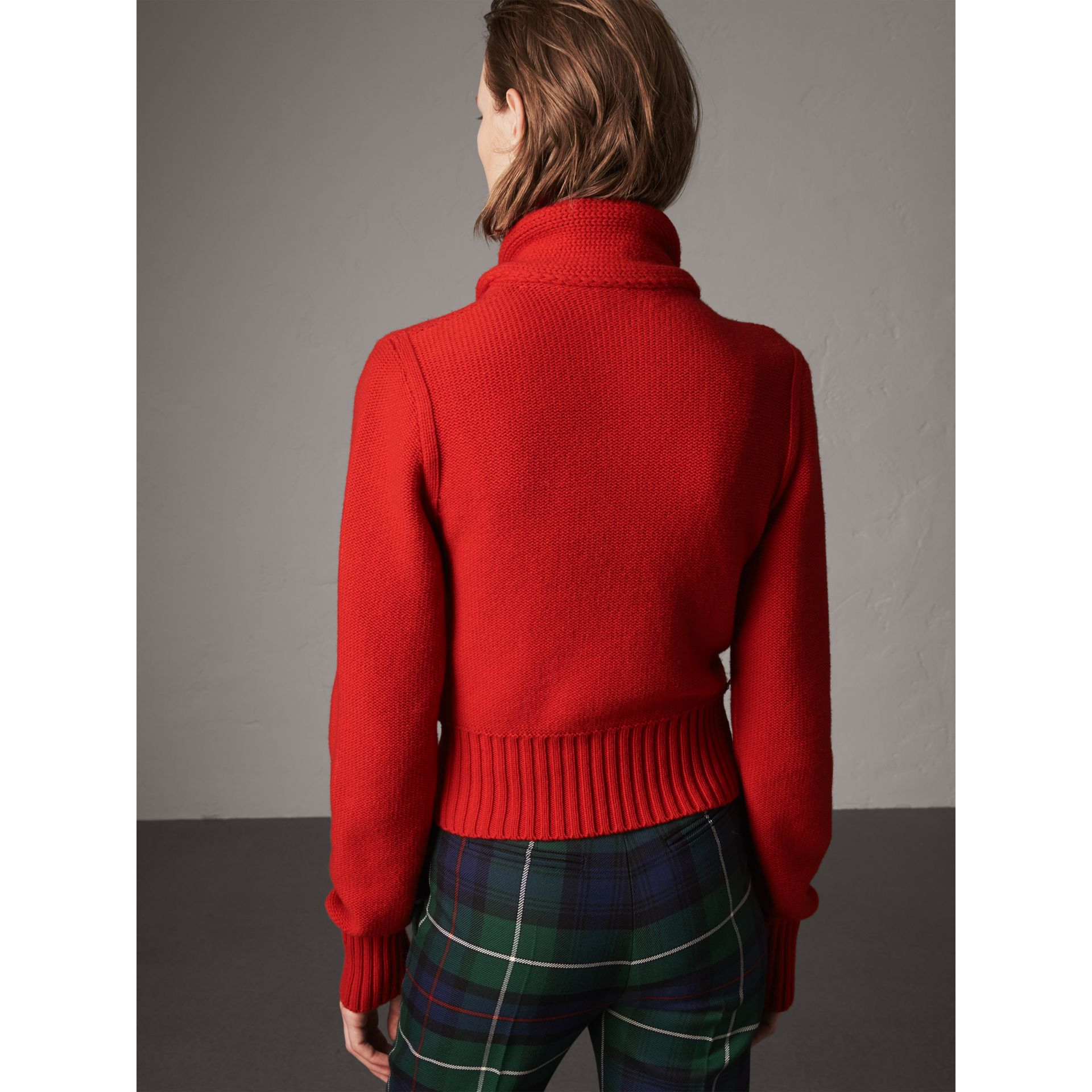 Cashmere Tie-neck Sweater in Red - Women | Burberry United Kingdom - gallery image 3
