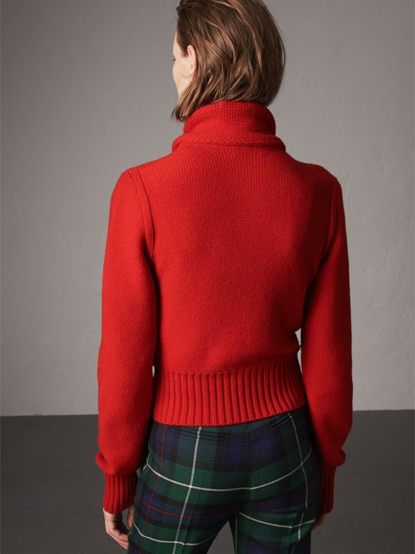 Cashmere Tie-neck Sweater in Red - Women | Burberry United Kingdom - cell image 2