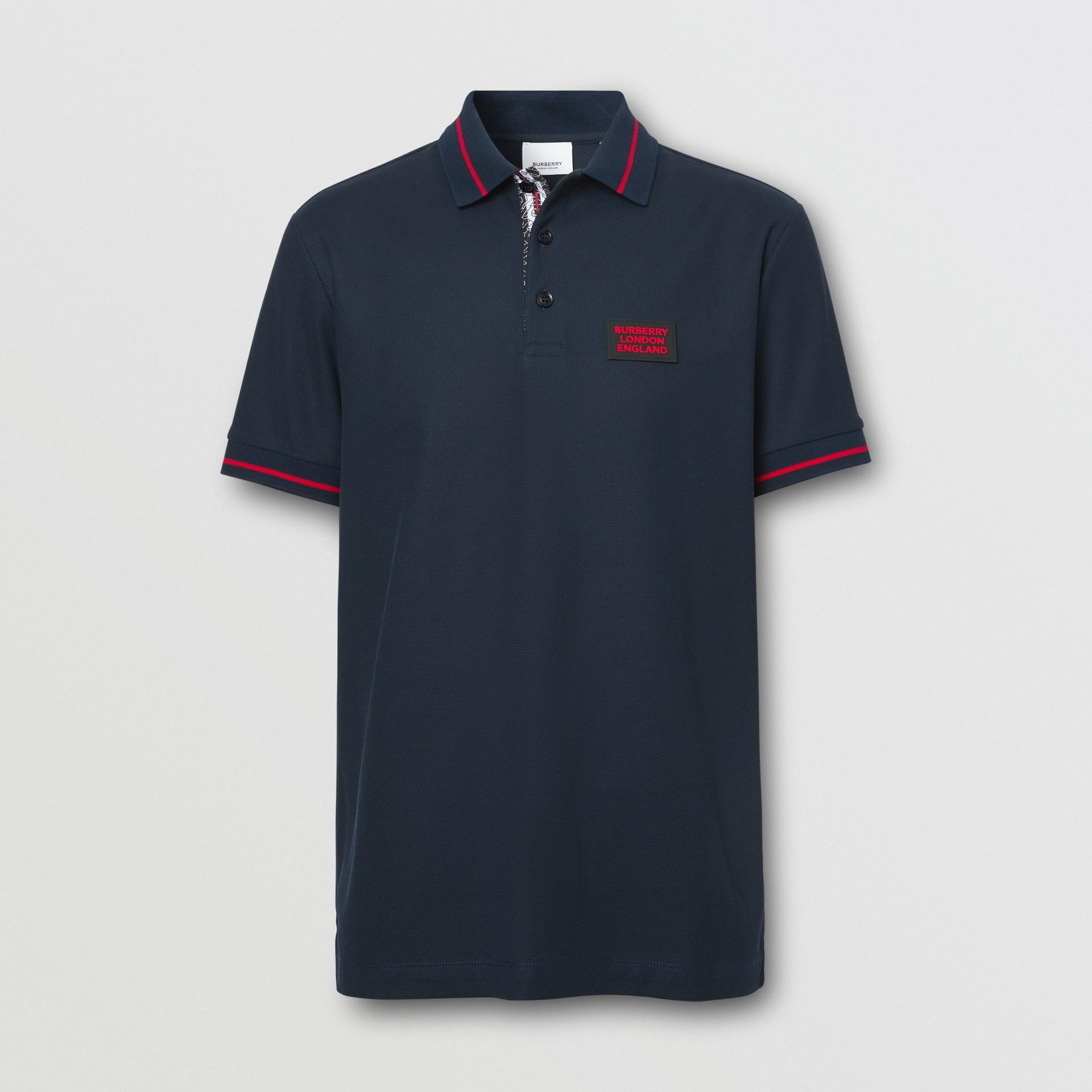 Logo Appliqué Cotton Piqué Polo Shirt in Navy - Men | Burberry Hong Kong S.A.R - gallery image 3