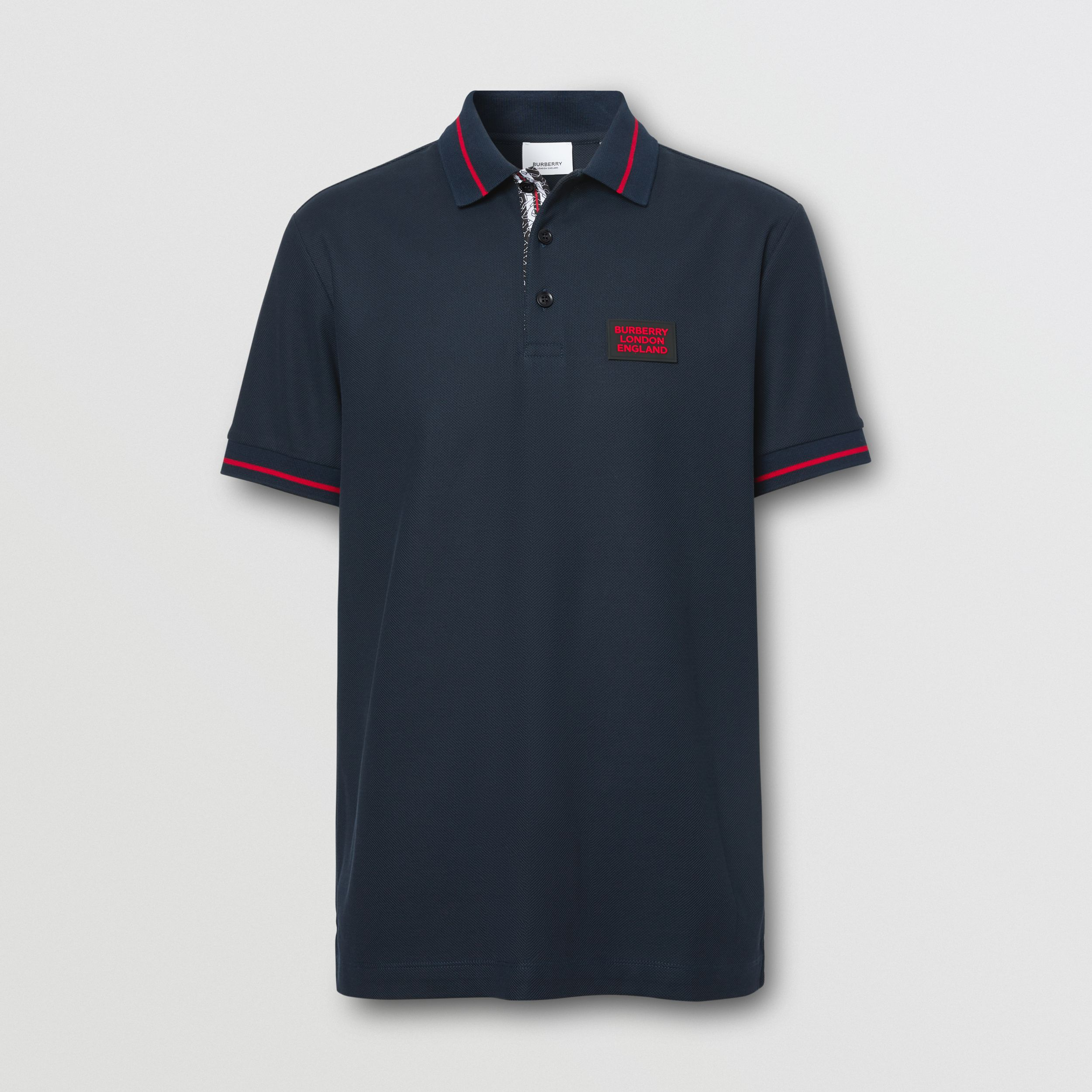 Logo Appliqué Cotton Piqué Polo Shirt in Navy - Men | Burberry - 4