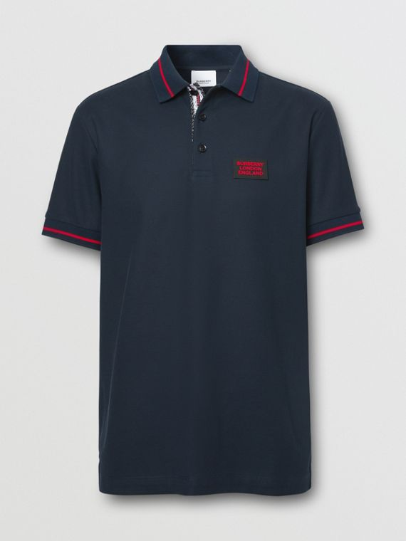 Logo Appliqué Cotton Piqué Polo Shirt in Navy