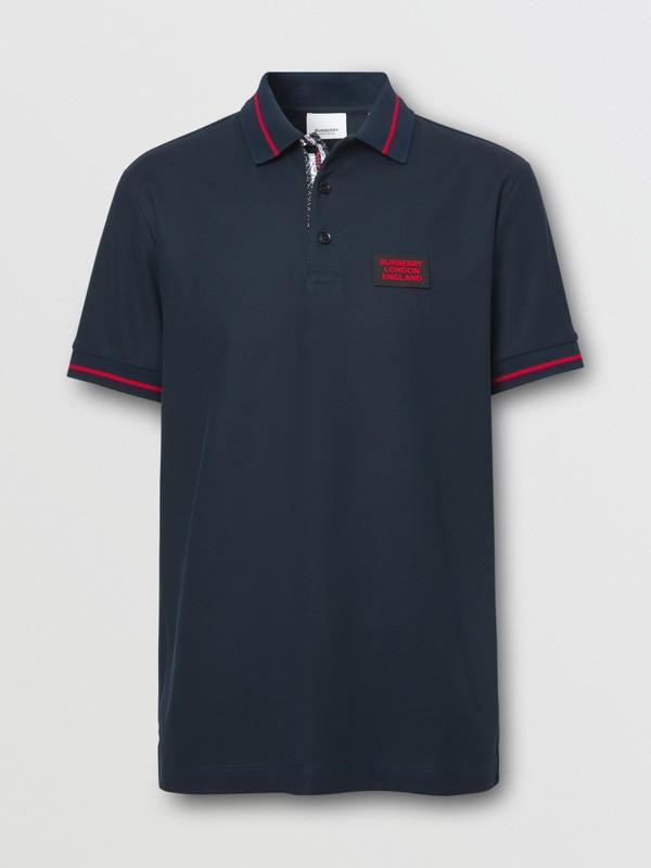 Logo Appliqué Cotton Piqué Polo Shirt in Navy - Men | Burberry Hong Kong S.A.R - cell image 3