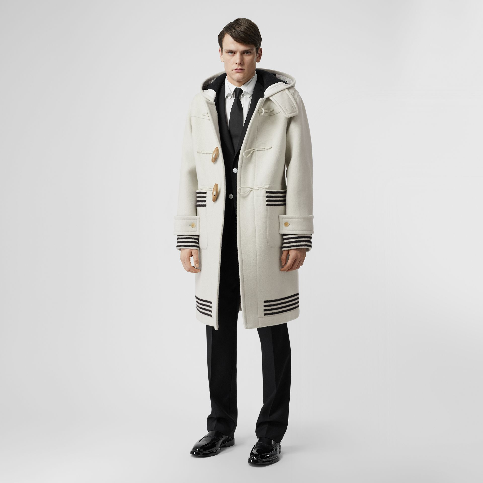 Stripe Detail Double-faced Wool Duffle Coat in White - Men | Burberry - gallery image 0