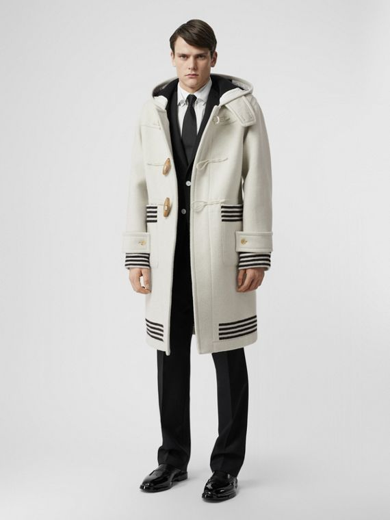 Stripe Detail Double-faced Wool Duffle Coat in White