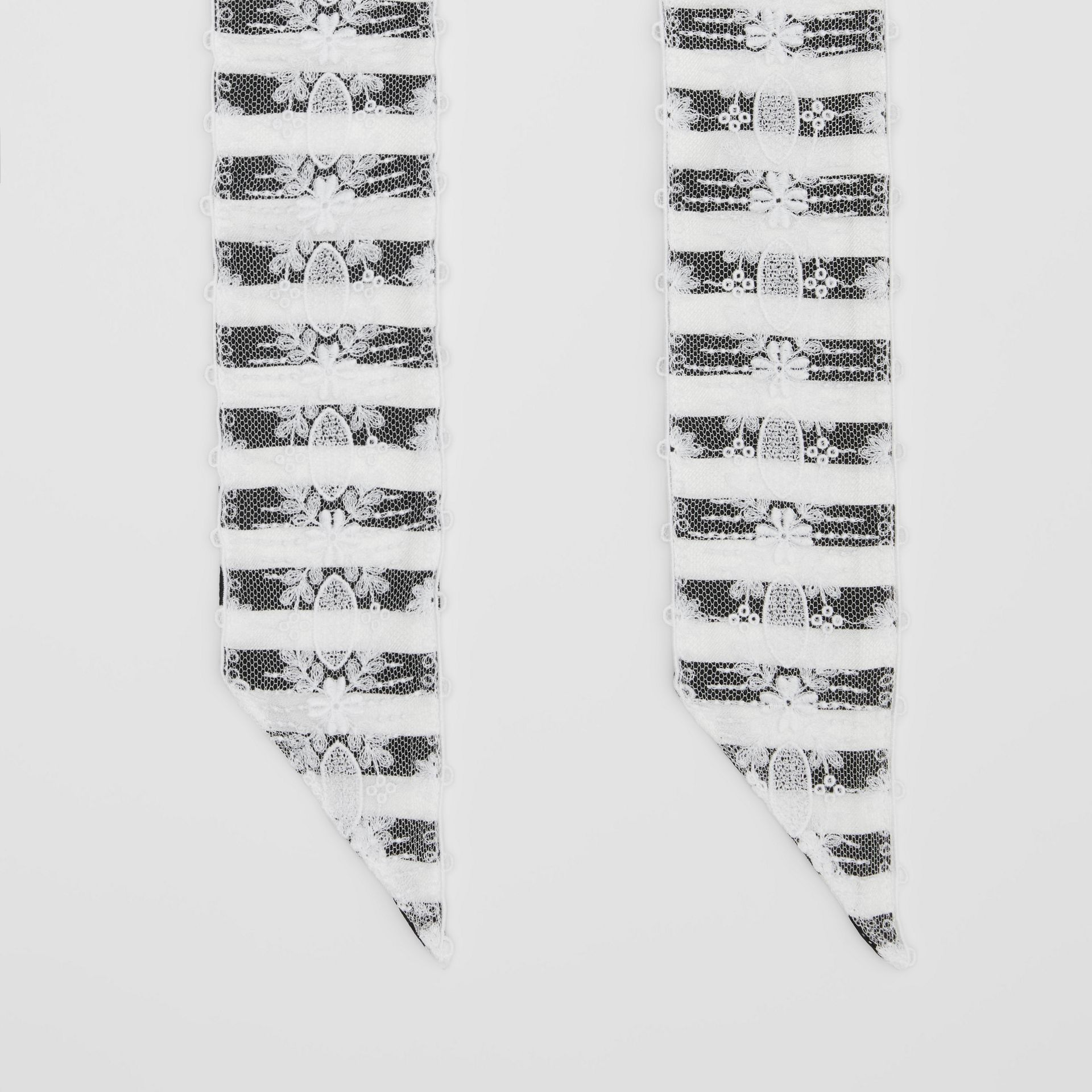 Lace Panel Stripe Print Silk Skinny Scarf in White | Burberry United States - gallery image 4