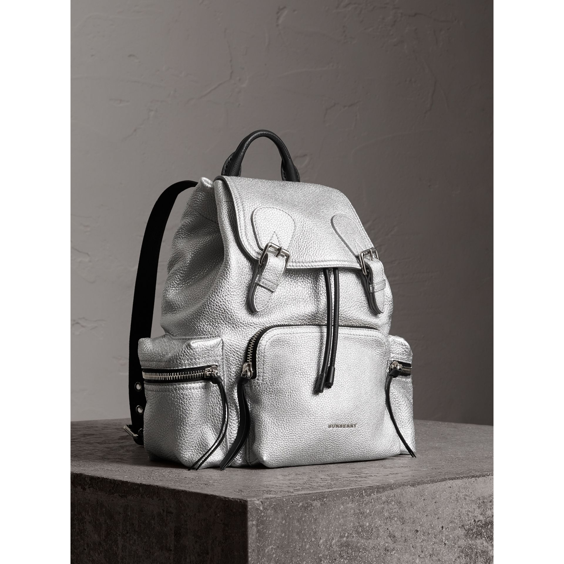 The Medium Rucksack in Metallic Deerskin in Silver - Women | Burberry Australia - gallery image 0