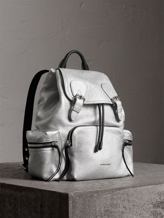 The Medium Rucksack in Metallic Deerskin in Silver