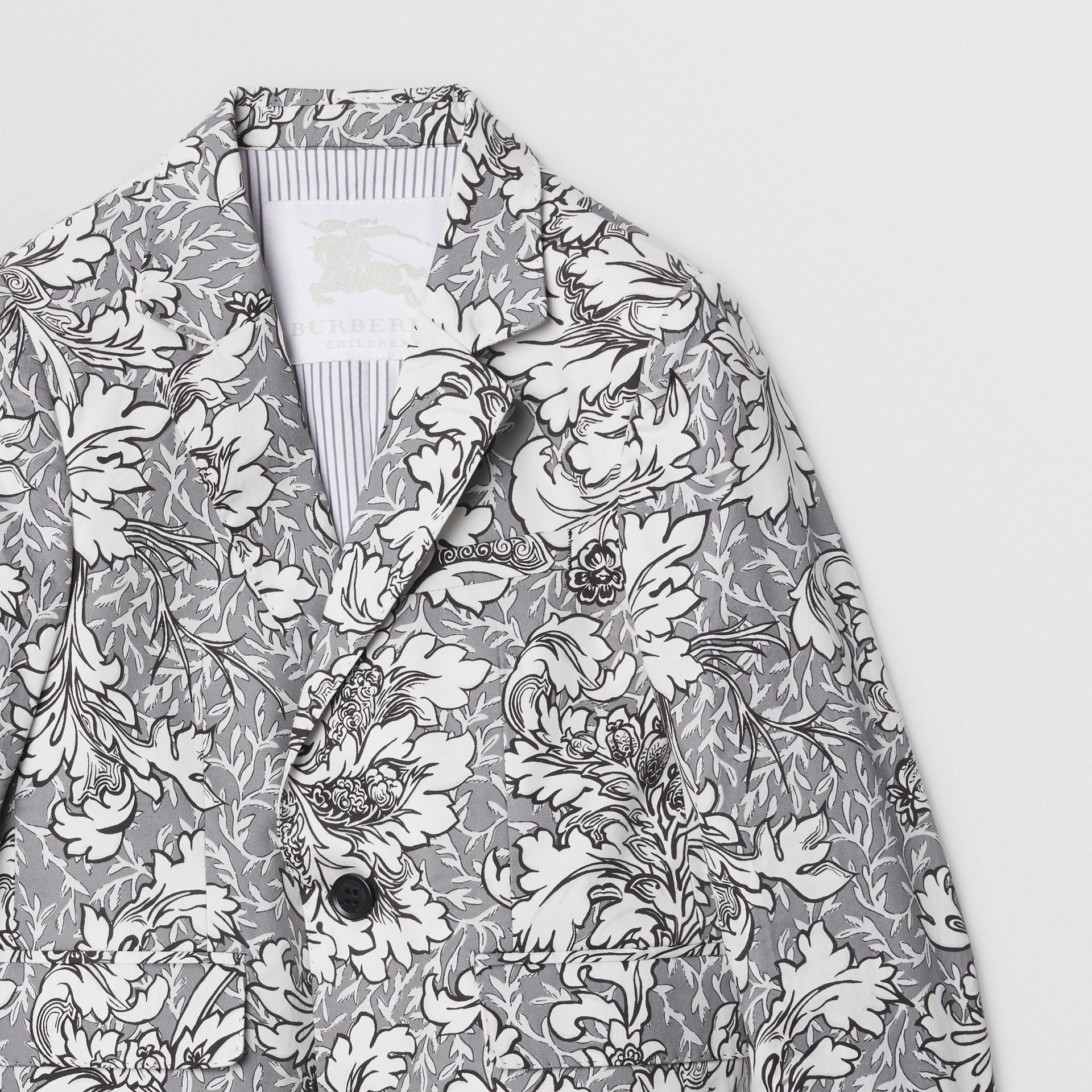 Floral Print Cotton Blazer in Mid Grey Melange | Burberry - gallery image 4
