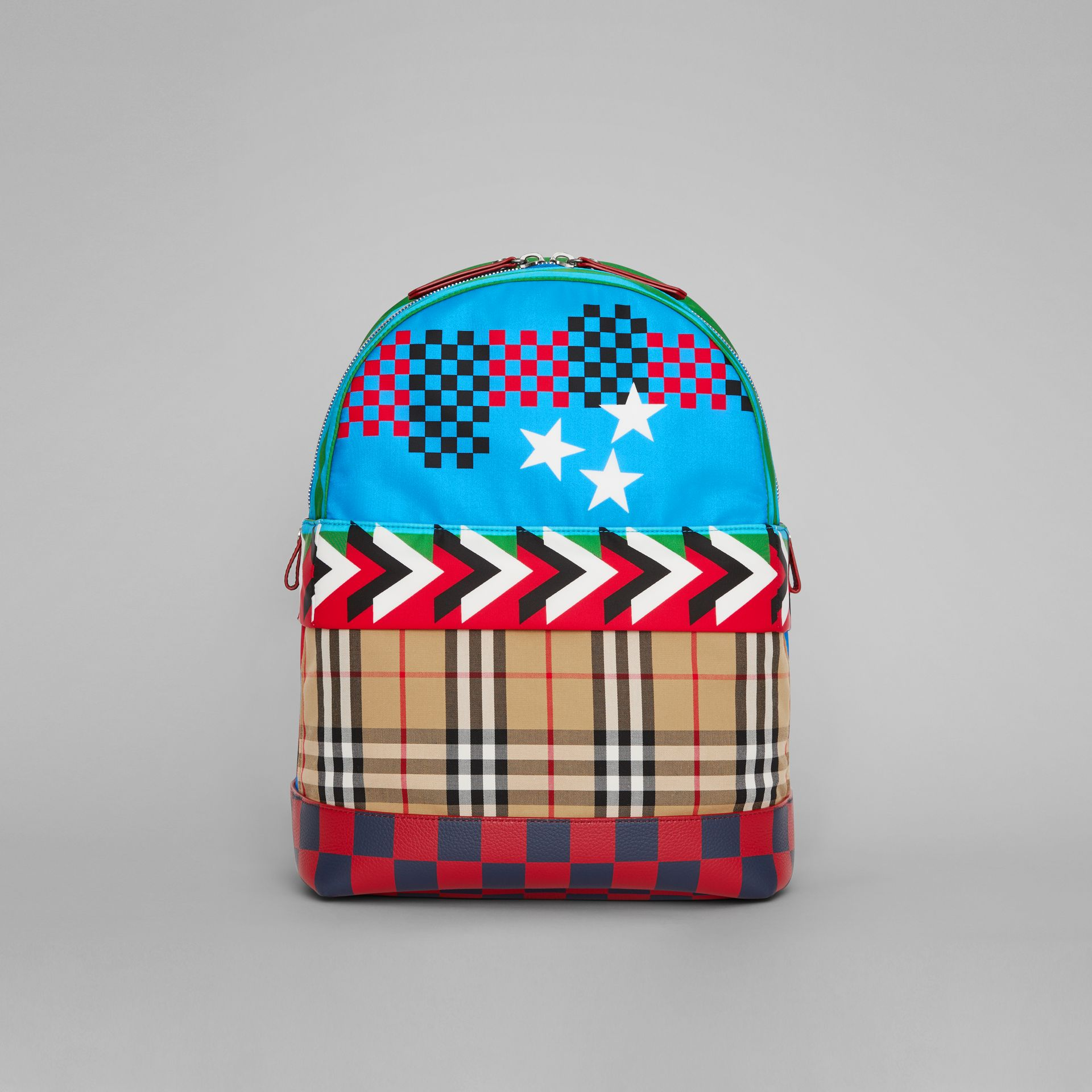Graphic Print Nylon Backpack in Mineral Blue | Burberry Australia - gallery image 0