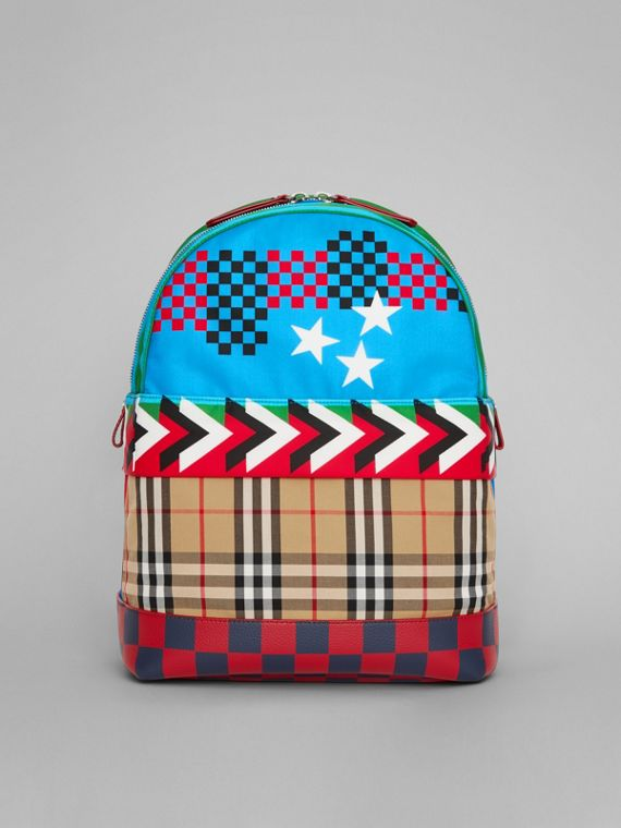 Graphic Print Nylon Backpack in Mineral Blue