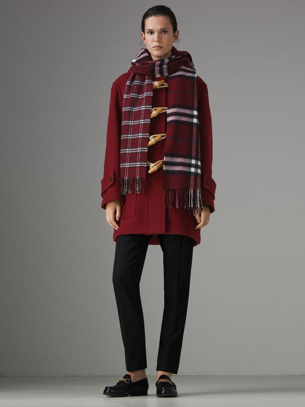 Gosha x Burberry Check Cashmere Double Scarf in Claret | Burberry Australia - cell image 2