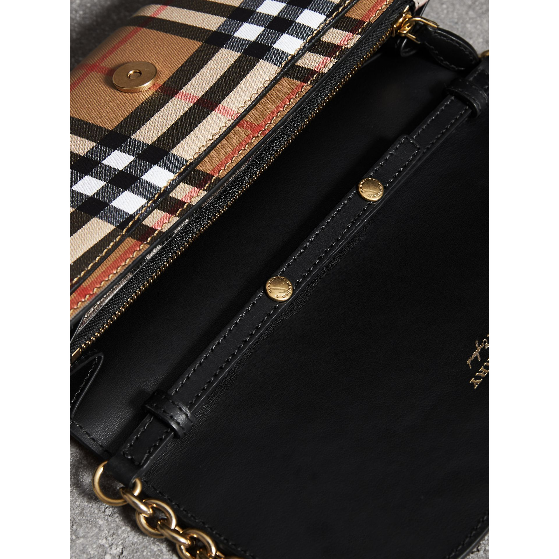 Vintage Check and Leather Wallet with Chain in Black - Women | Burberry Australia - gallery image 5