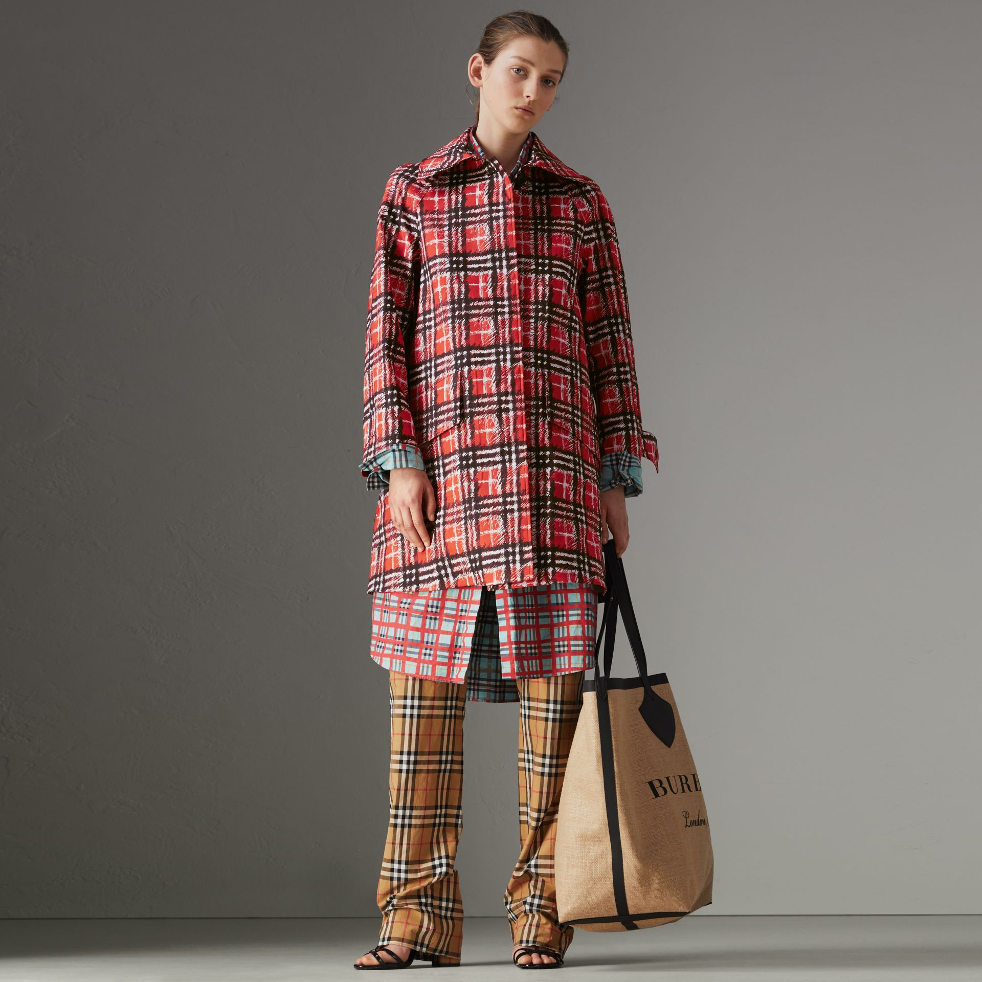Scribble Check Bonded Cotton Car Coat in Bright Military Red - Women | Burberry Singapore - gallery image 0