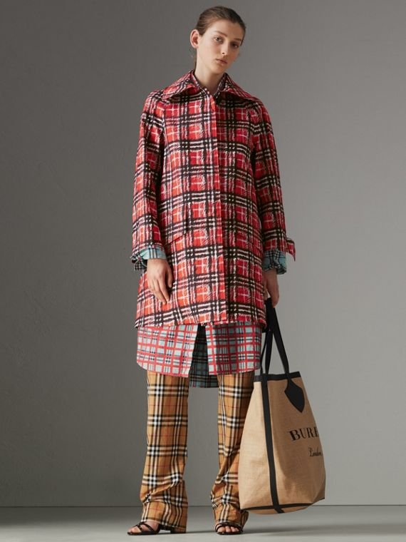Scribble Check Bonded Cotton Car Coat in Bright Military Red