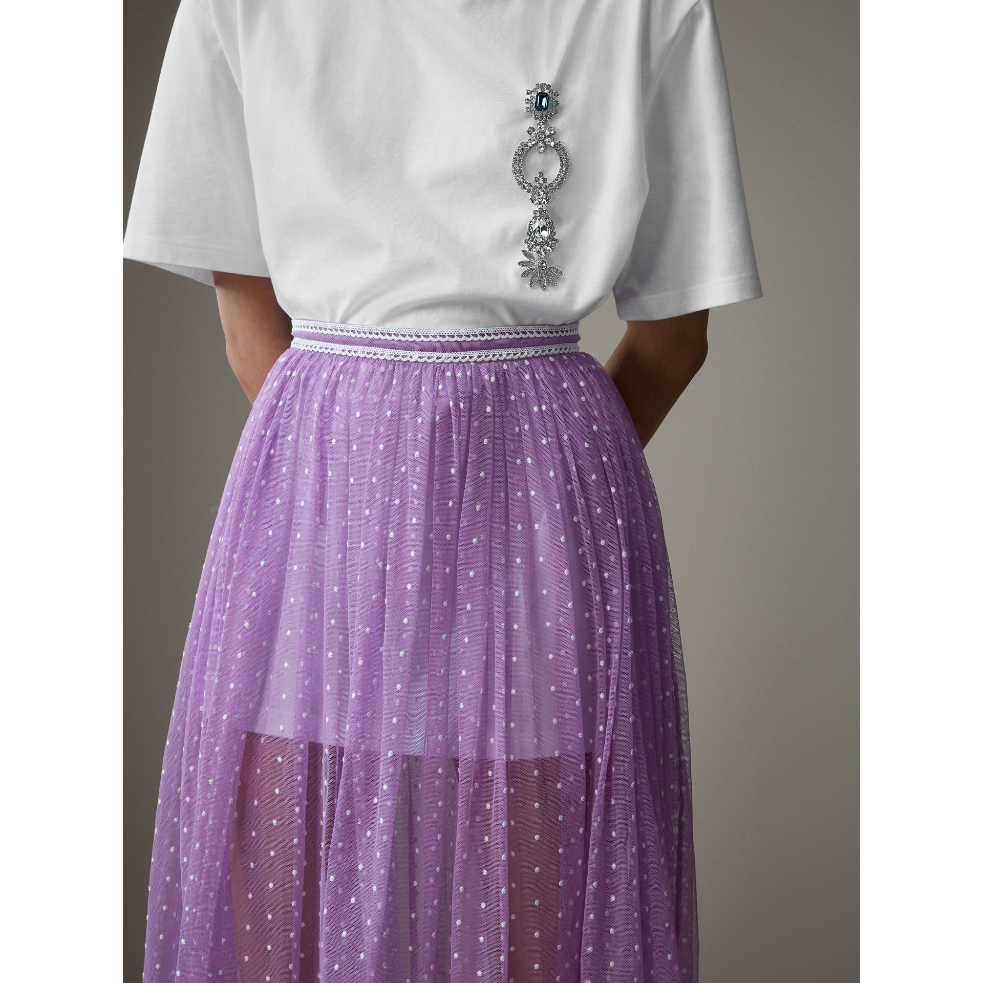 Floor-length Flocked Cotton Tulle Skirt in Lilac/white - Women | Burberry - gallery image 4