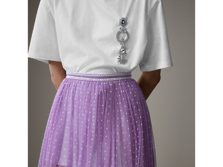 Floor-length Flocked Cotton Tulle Skirt in Lilac/white - Women | Burberry Australia - cell image 4