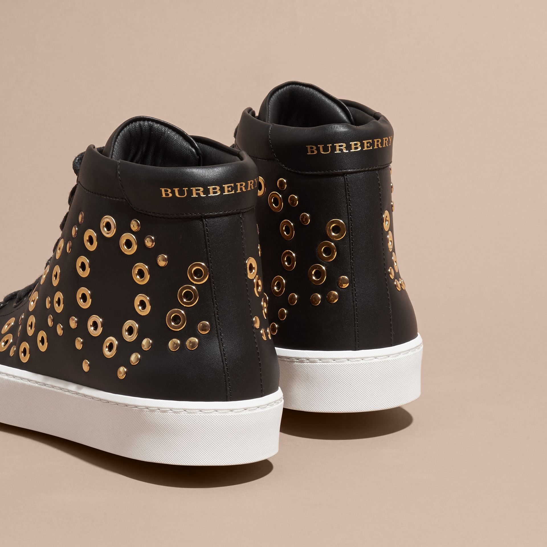 Black Rivet and Eyelet Leather High-top Trainers - gallery image 4