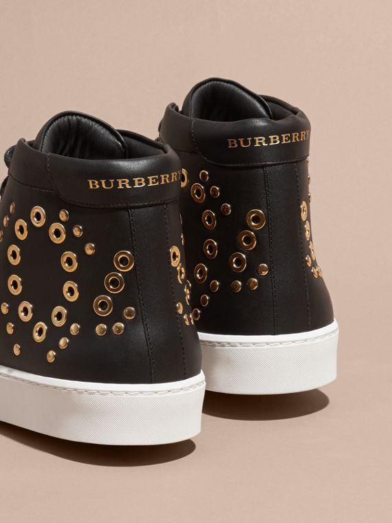 Black Rivet and Eyelet Leather High-top Trainers - cell image 3