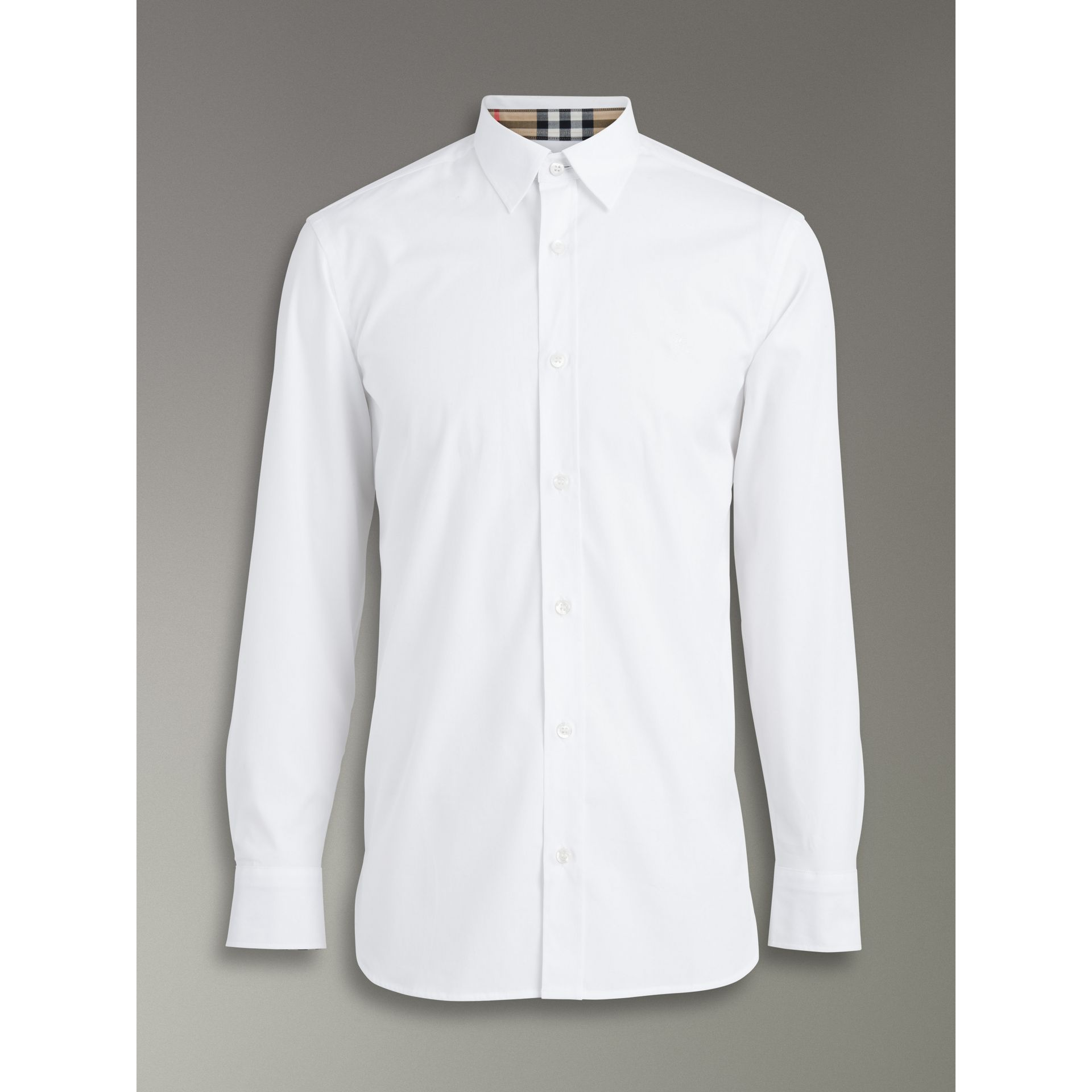 Check Cuff Stretch Cotton Poplin Shirt in White - Men | Burberry United Kingdom - gallery image 3