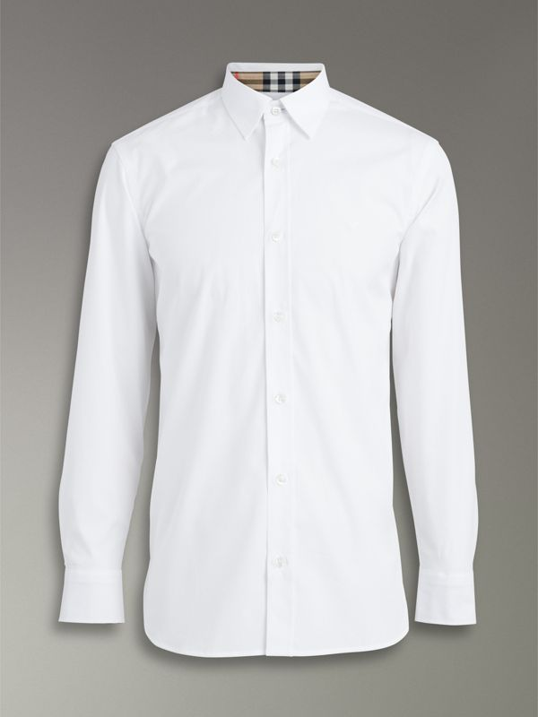 Check Cuff Stretch Cotton Poplin Shirt in White - Men | Burberry - cell image 3