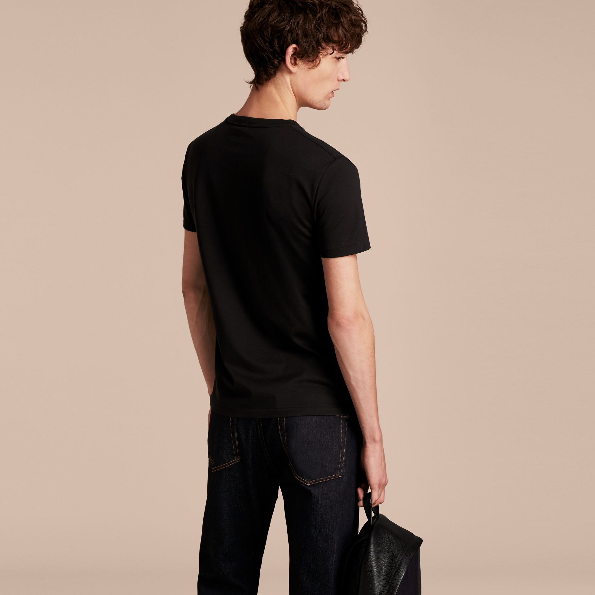 Cotton V-neck T-shirt in Black - Men | Burberry - gallery image 2