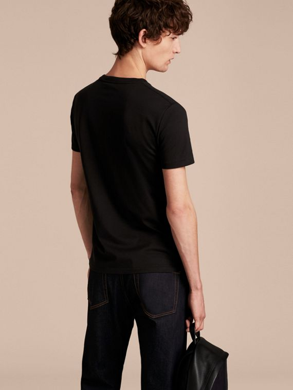 Cotton V-neck T-shirt in Black - Men | Burberry - cell image 2