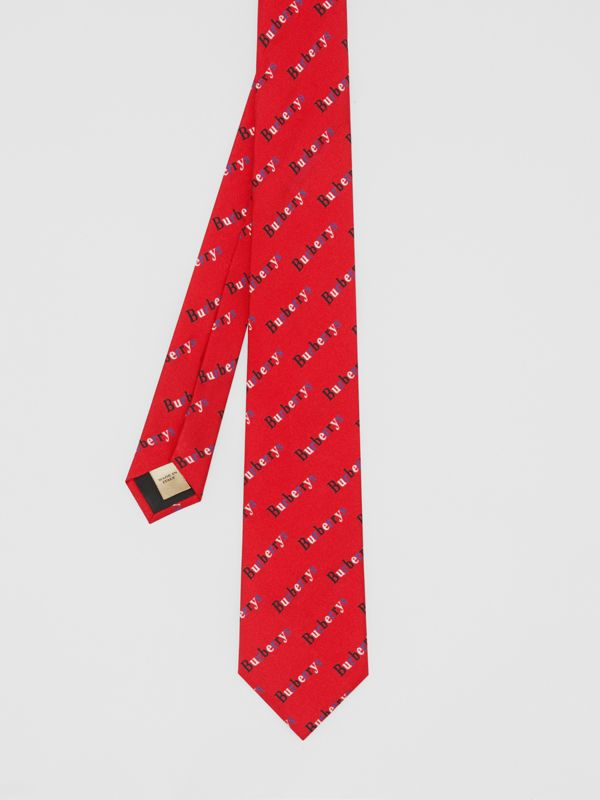 Modern Cut Archive Logo Print Silk Tie in Parade Red - Men | Burberry - cell image 3