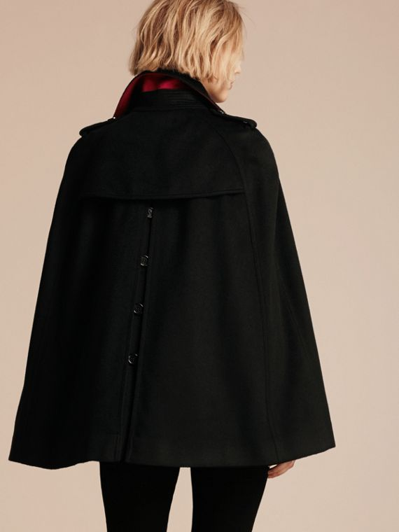 Black Cashmere Military Cape Coat - cell image 2