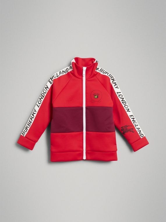Bold Stripe Detail Tracksuit Top in Bright Red