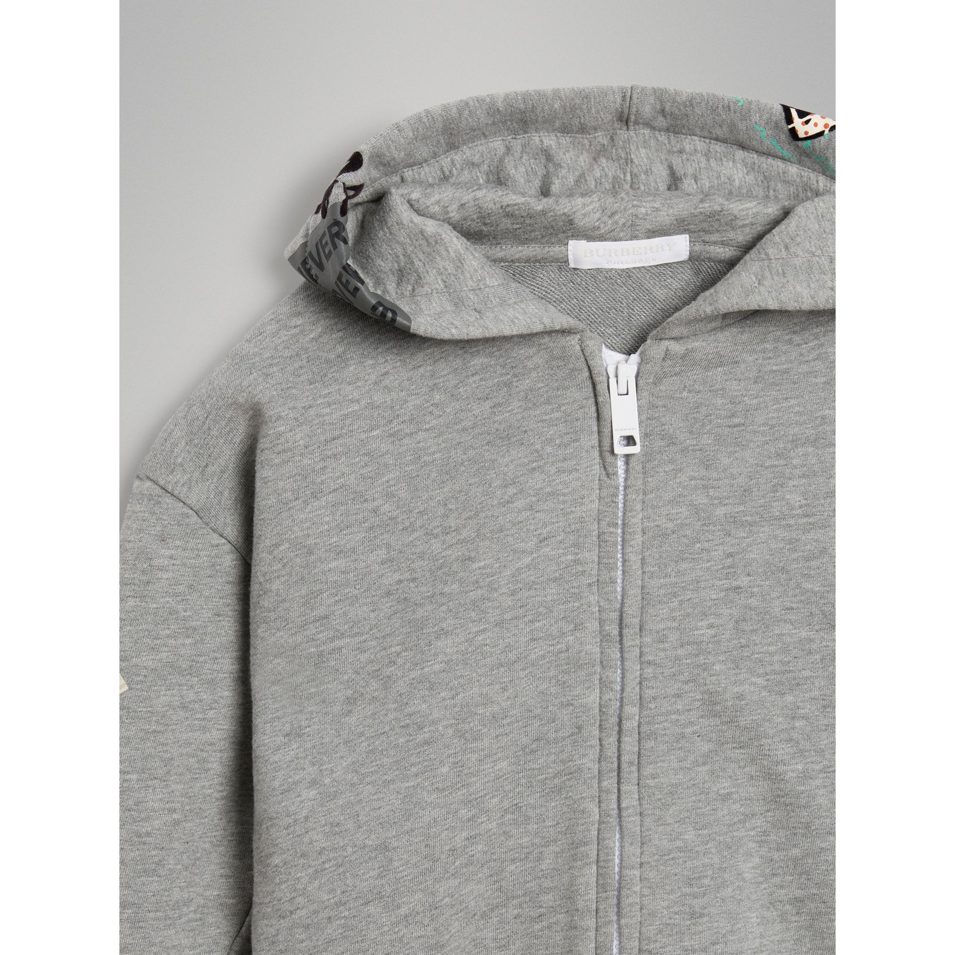 London Street Art Print Cotton Hooded Top in Grey Melange - Girl | Burberry - gallery image 4