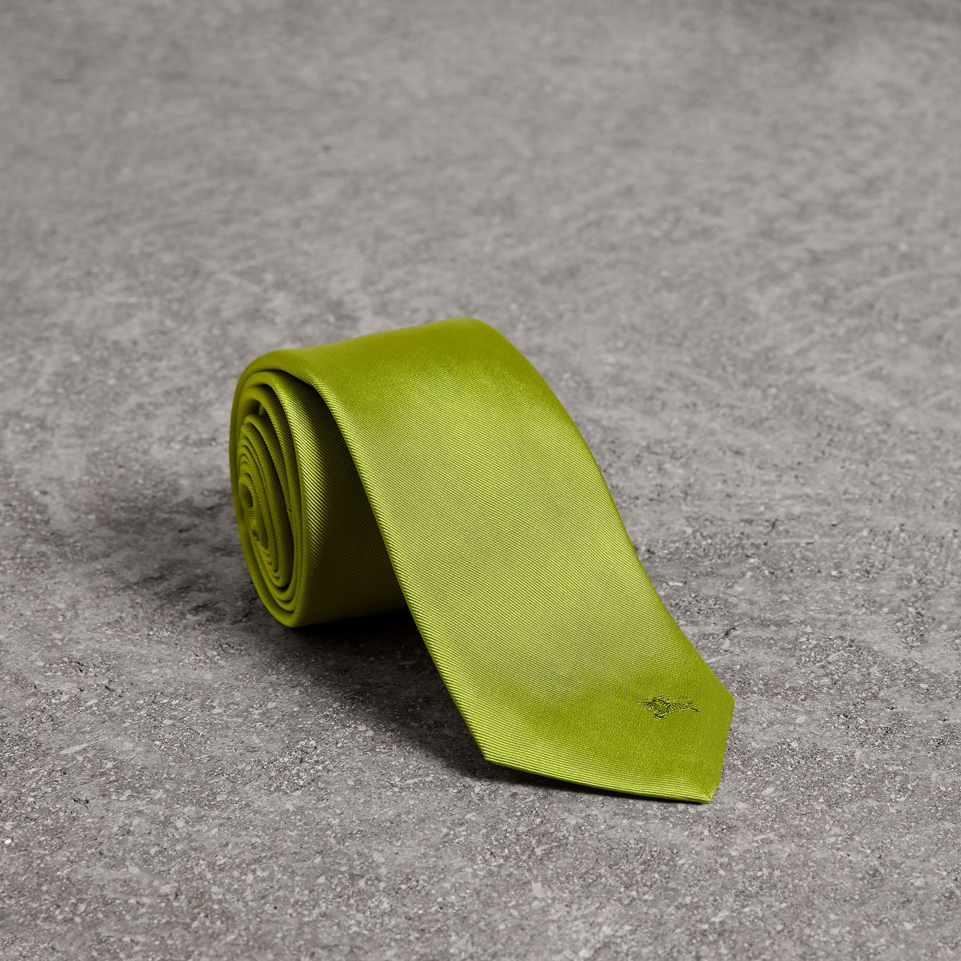 Modern Cut Silk Tie in Bright Lime - Men | Burberry - gallery image 0