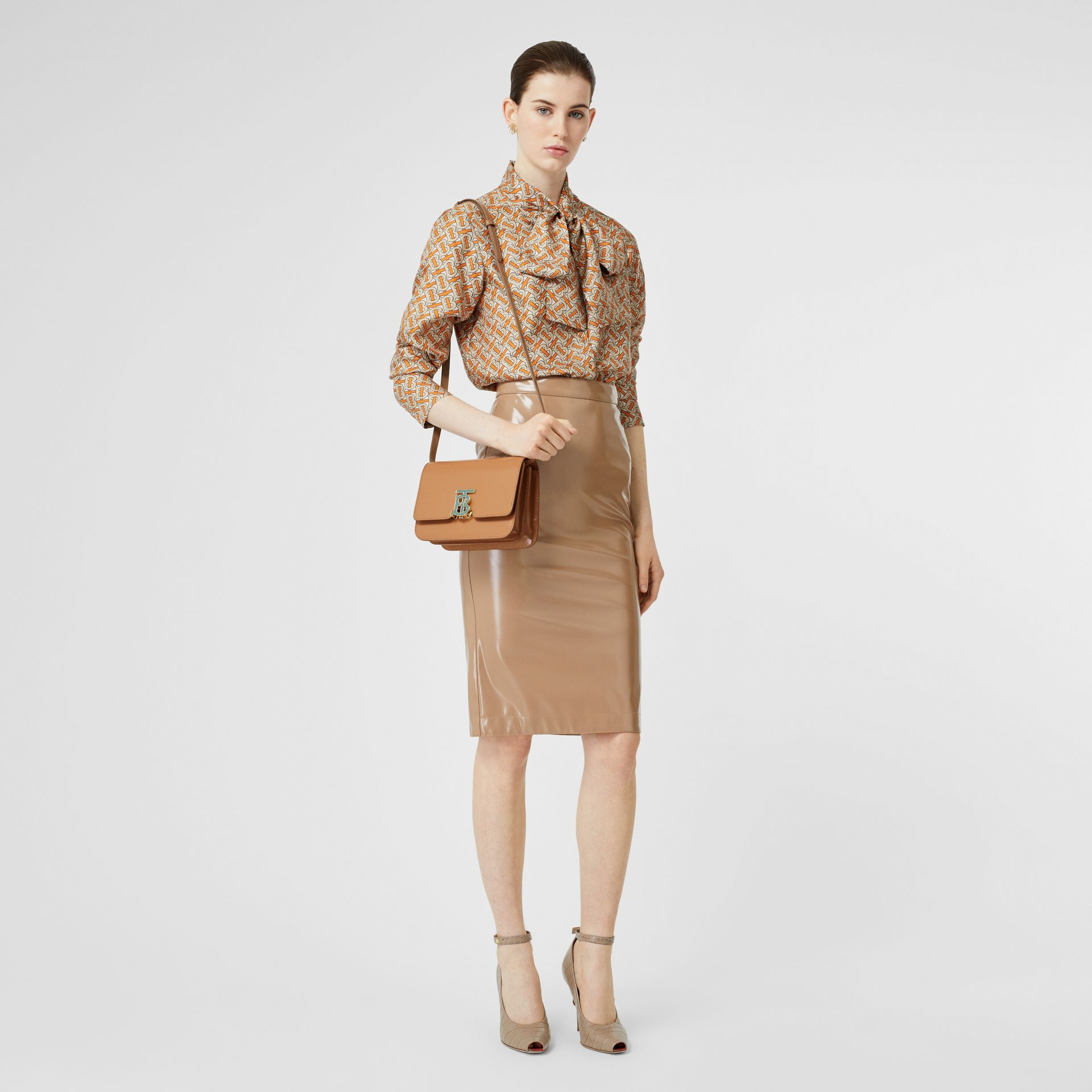 Small Leather TB Bag in Flaxseed - Women | Burberry - gallery image 5