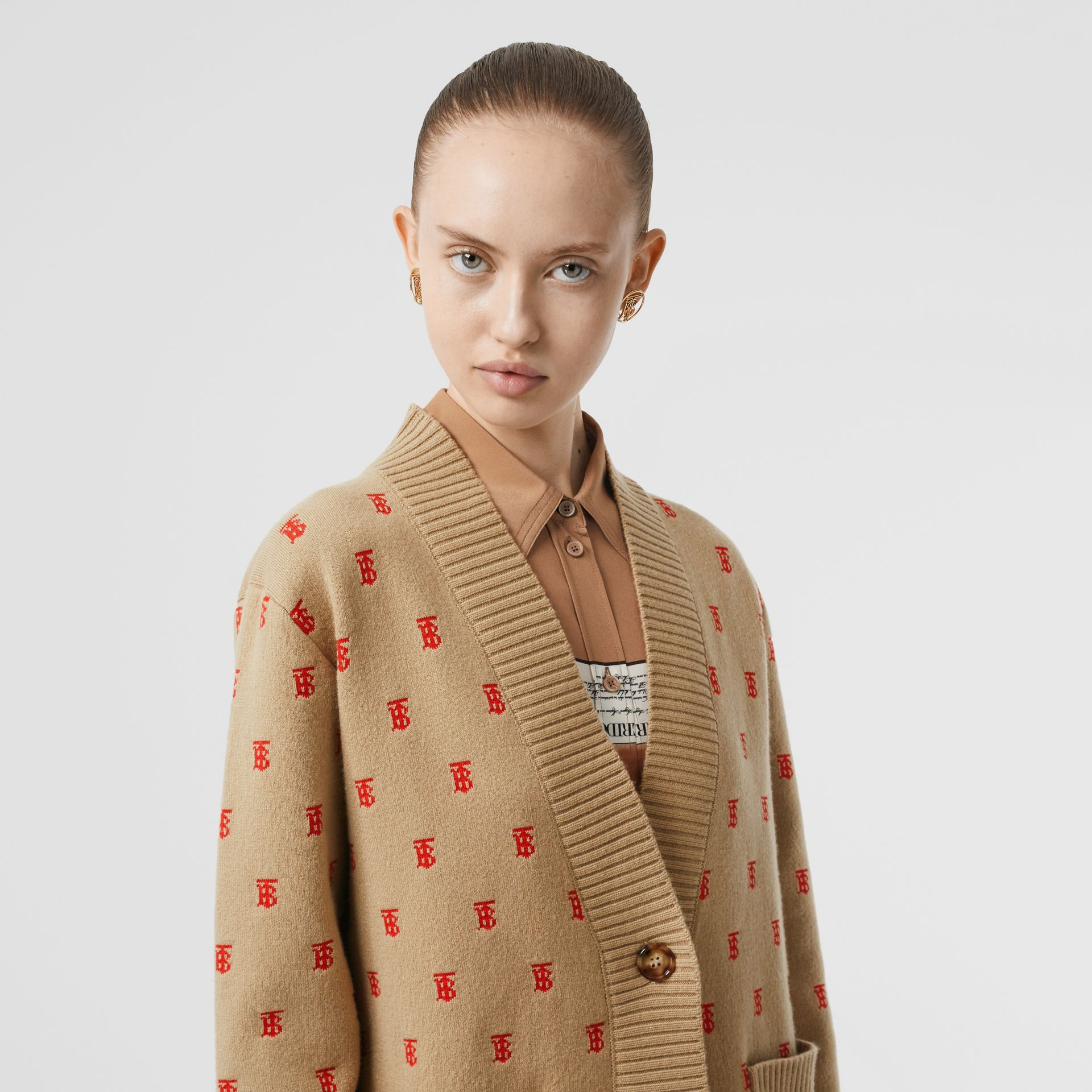 Monogram Wool Cashmere Blend Oversized Cardigan in Archive Beige - Women | Burberry - gallery image 1