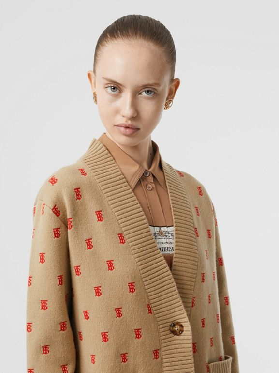 Monogram Wool Cashmere Blend Oversized Cardigan in Archive Beige - Women | Burberry Singapore - cell image 1