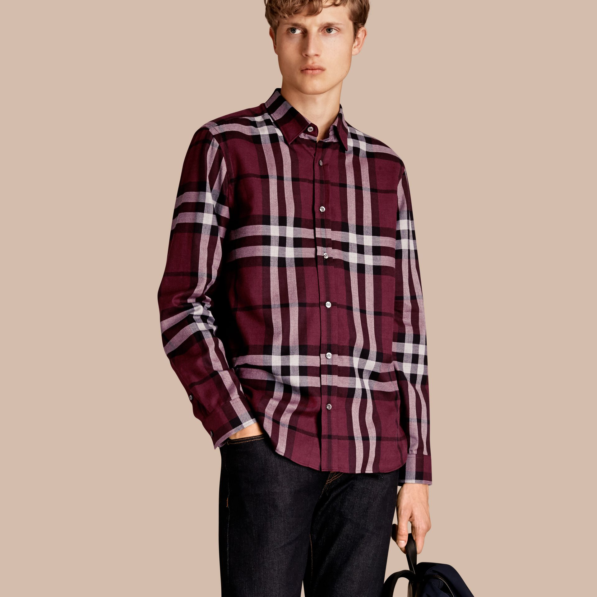 Deep claret Check Cotton Cashmere Flannel Shirt Deep Claret - gallery image 1
