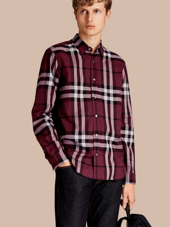 Check Cotton Cashmere Flannel Shirt Deep Claret