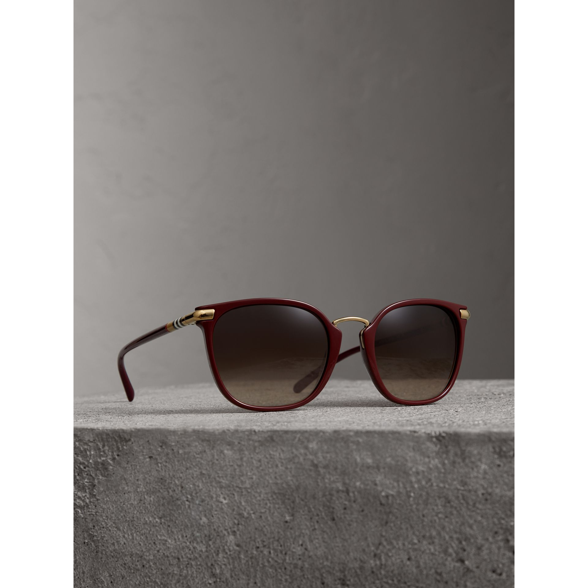 Check Detail Square Frame Sunglasses in Burgundy - Women | Burberry - gallery image 1
