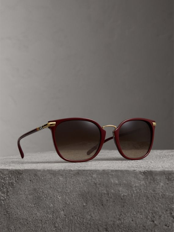 Check Detail Square Frame Sunglasses in Burgundy