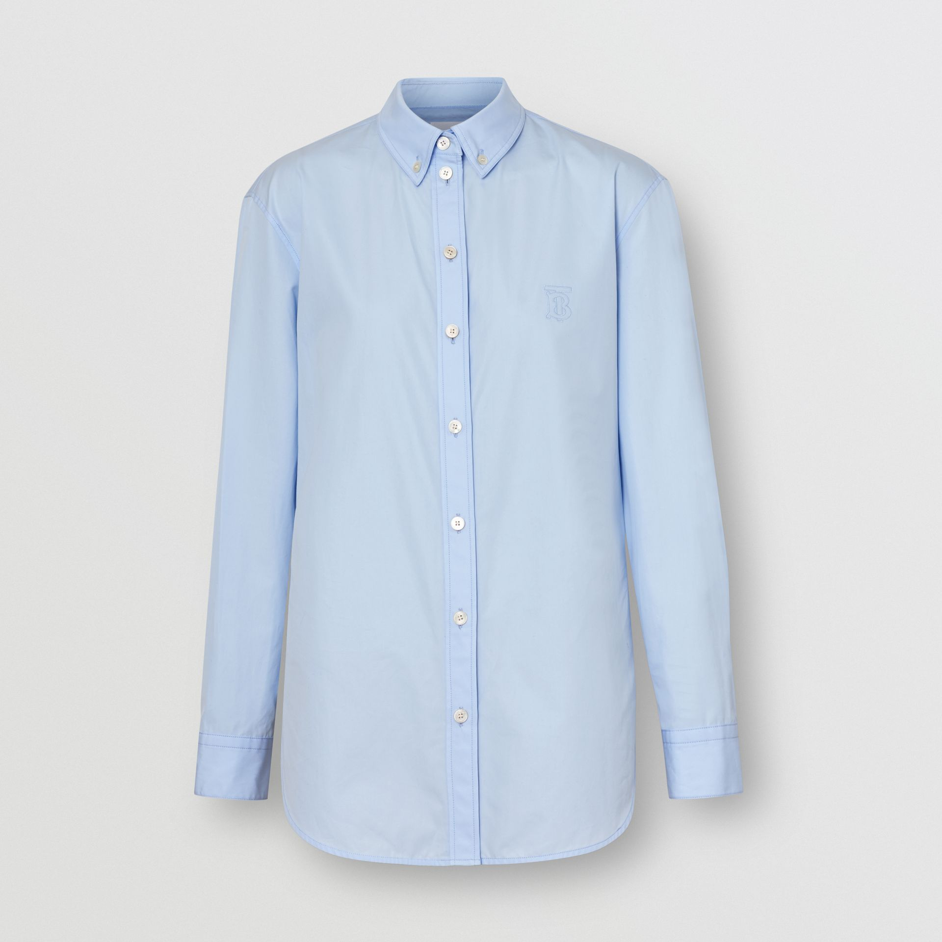 Button-down Collar Monogram Motif Cotton Shirt in Pale Blue - Women | Burberry United Kingdom - gallery image 3