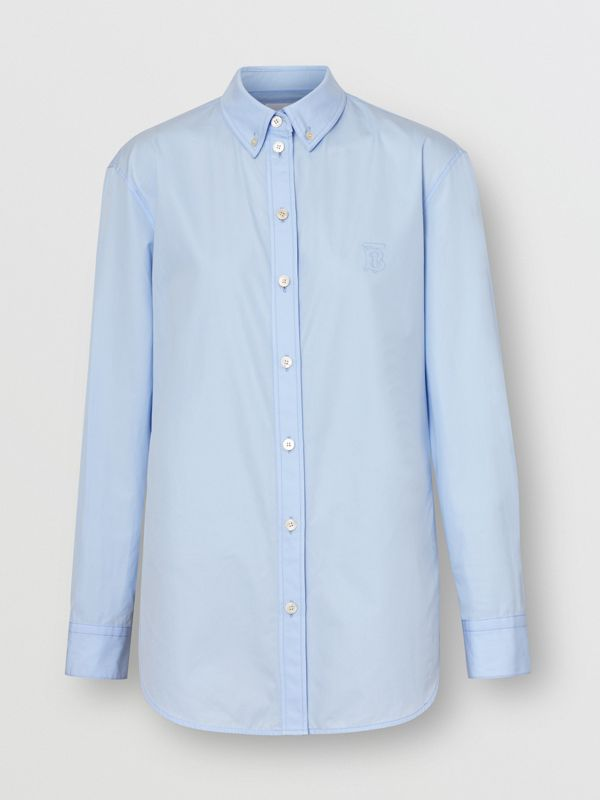 Button-down Collar Monogram Motif Cotton Shirt in Pale Blue - Women | Burberry - cell image 3