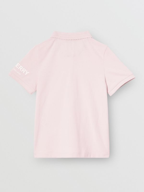 Logo Print Cotton Piqué Polo Shirt in Ice Pink | Burberry - cell image 3