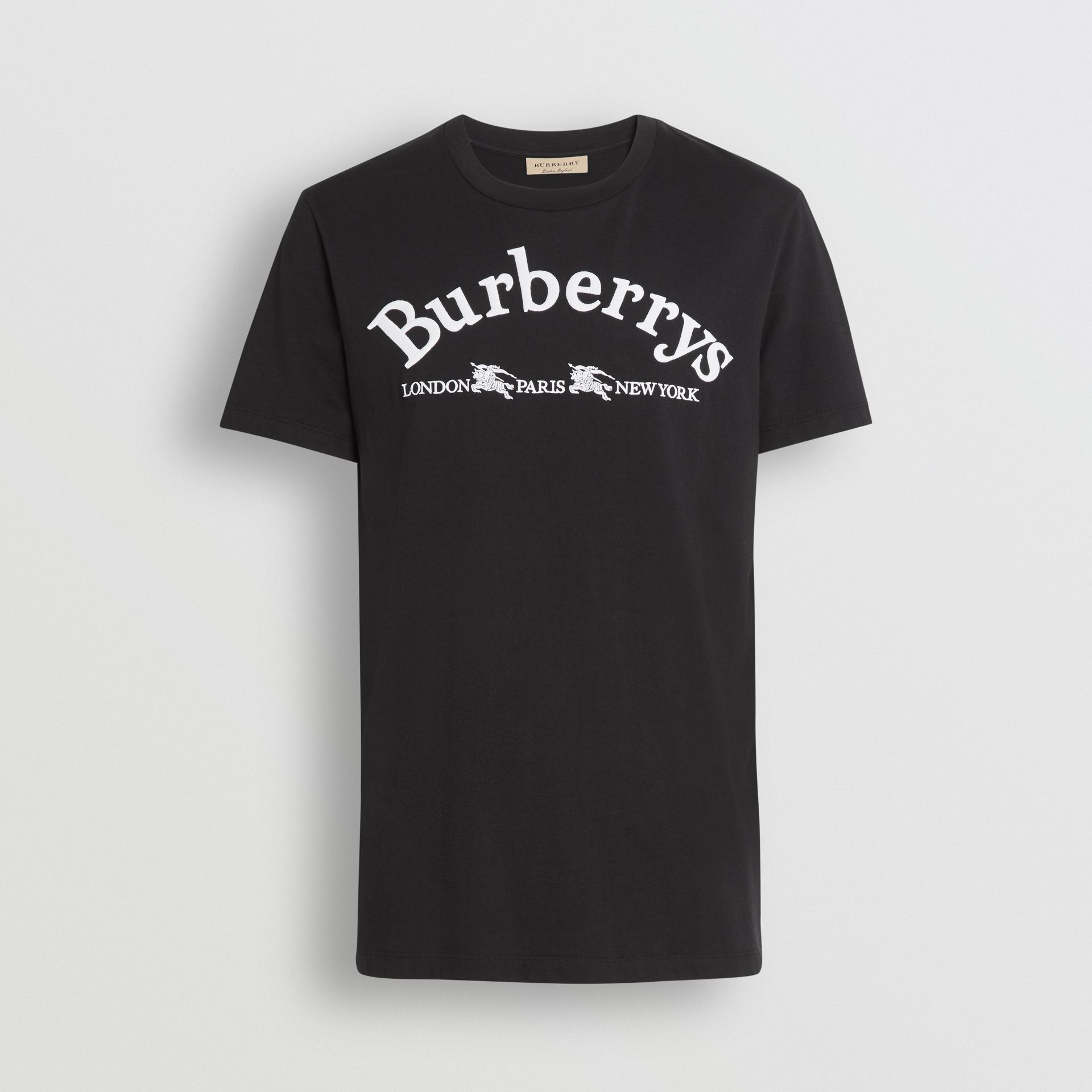 Archive Logo Cotton T-shirt in Black - Men | Burberry Singapore - gallery image 3