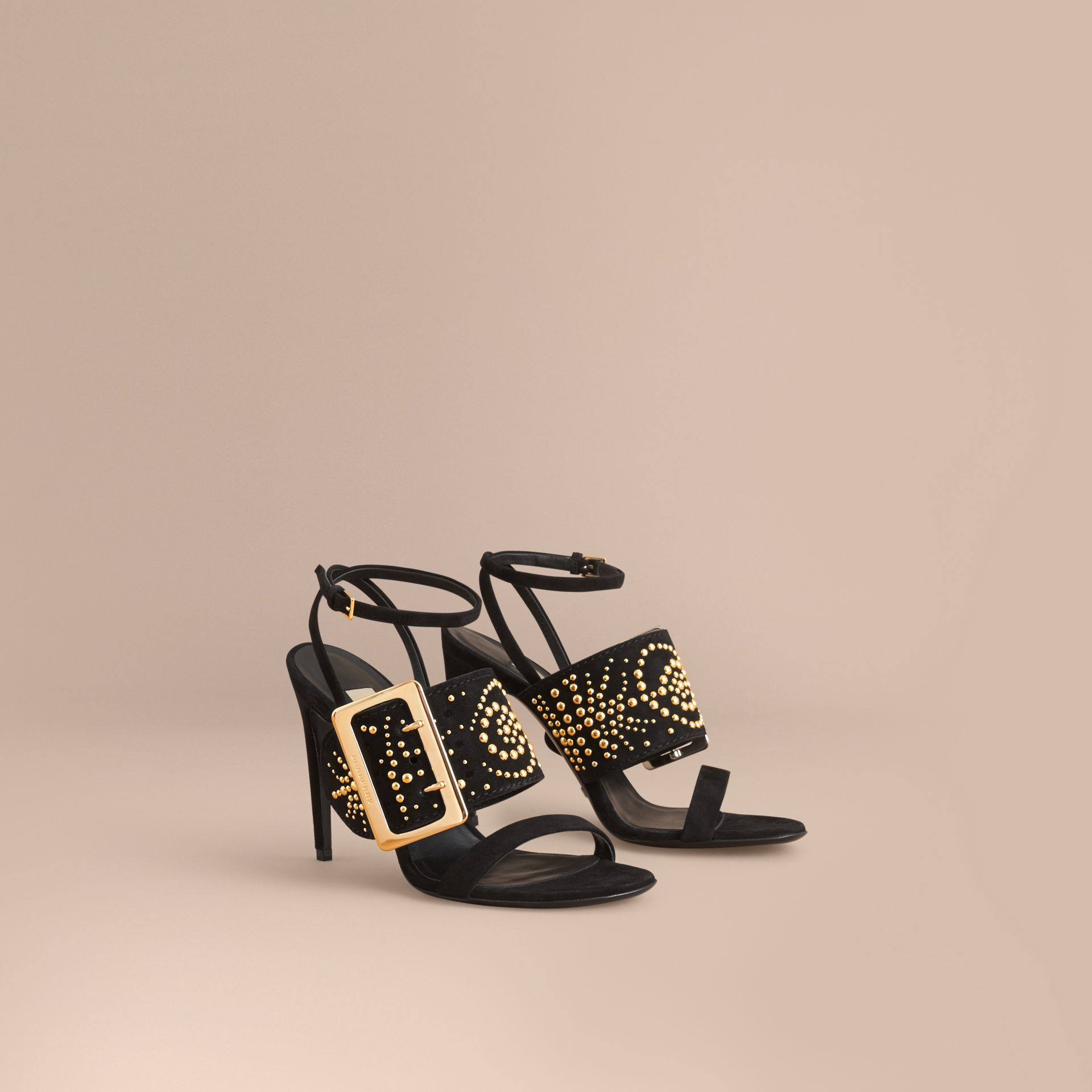 Riveted Suede Sandals with Buckle Detail Black - gallery image 1