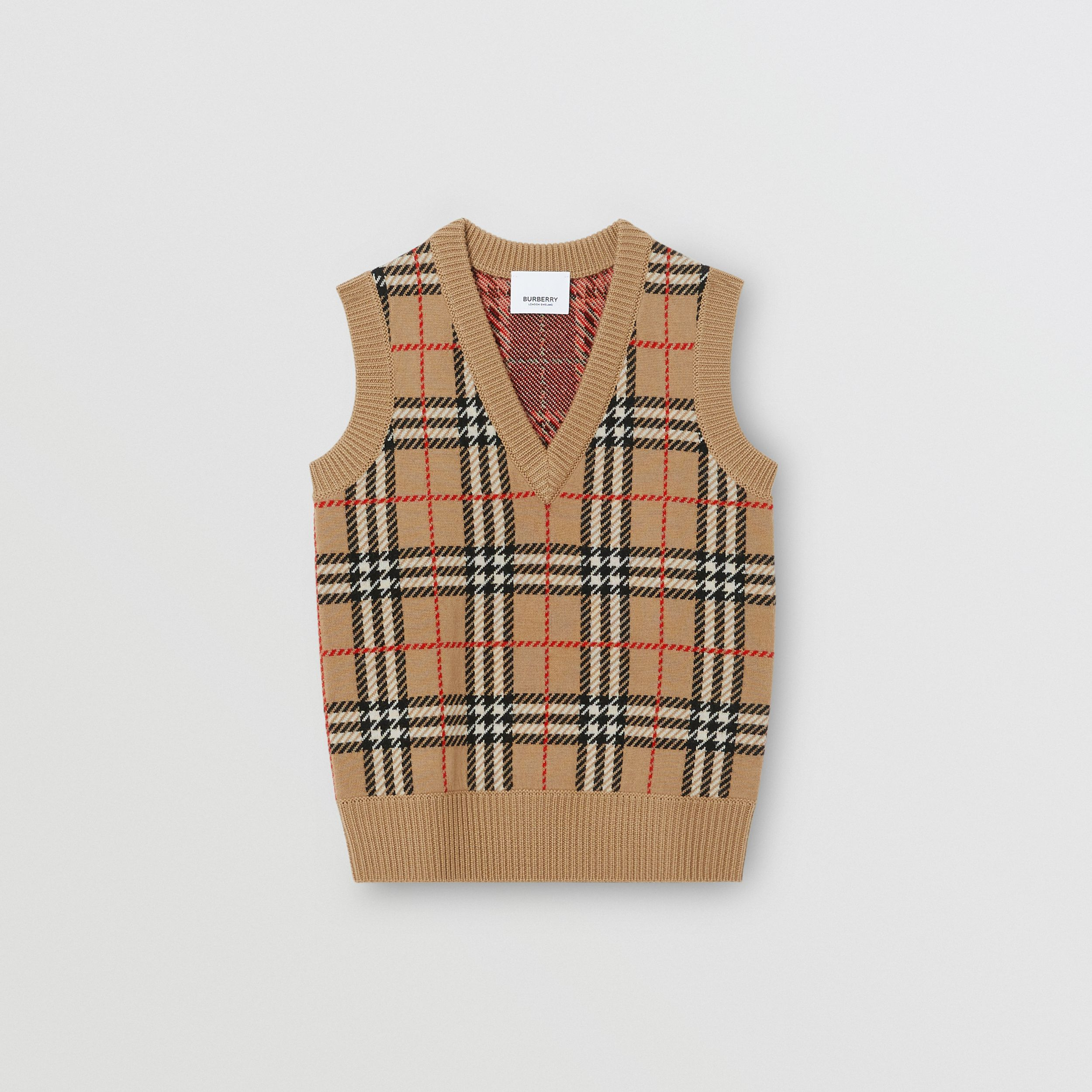 Check Merino Wool Jacquard Vest in Archive Beige | Burberry United States - 1