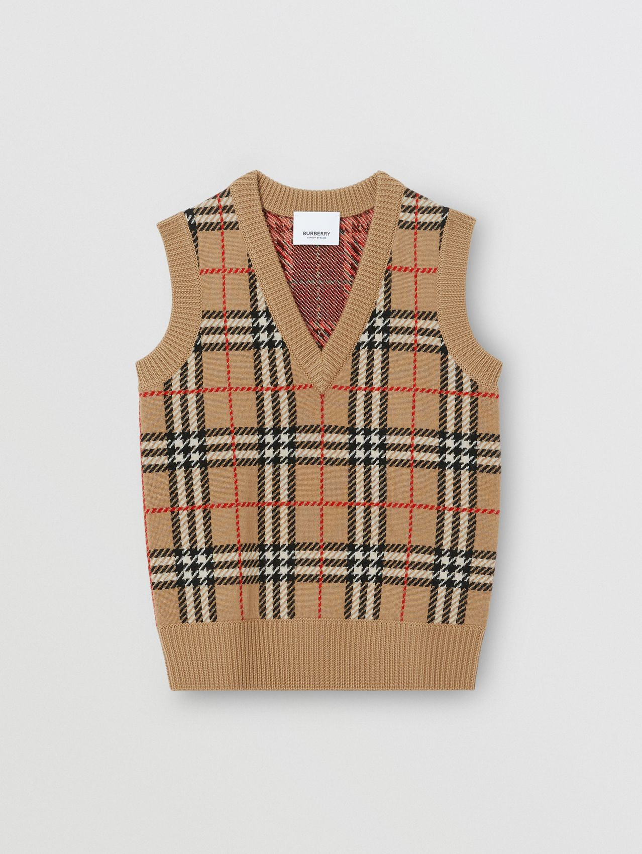 Check Merino Wool Jacquard Vest in Archive Beige