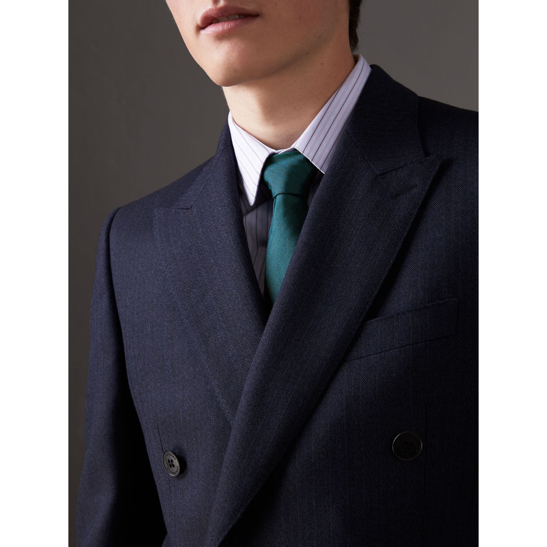 Modern Cut Silk Tie in Mineral Blue - Men | Burberry - gallery image 2