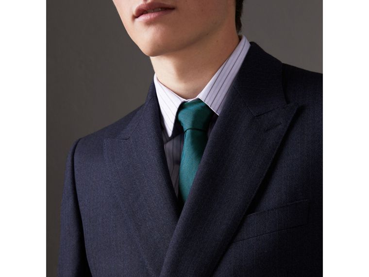 Modern Cut Silk Tie in Mineral Blue - Men | Burberry United States - cell image 2