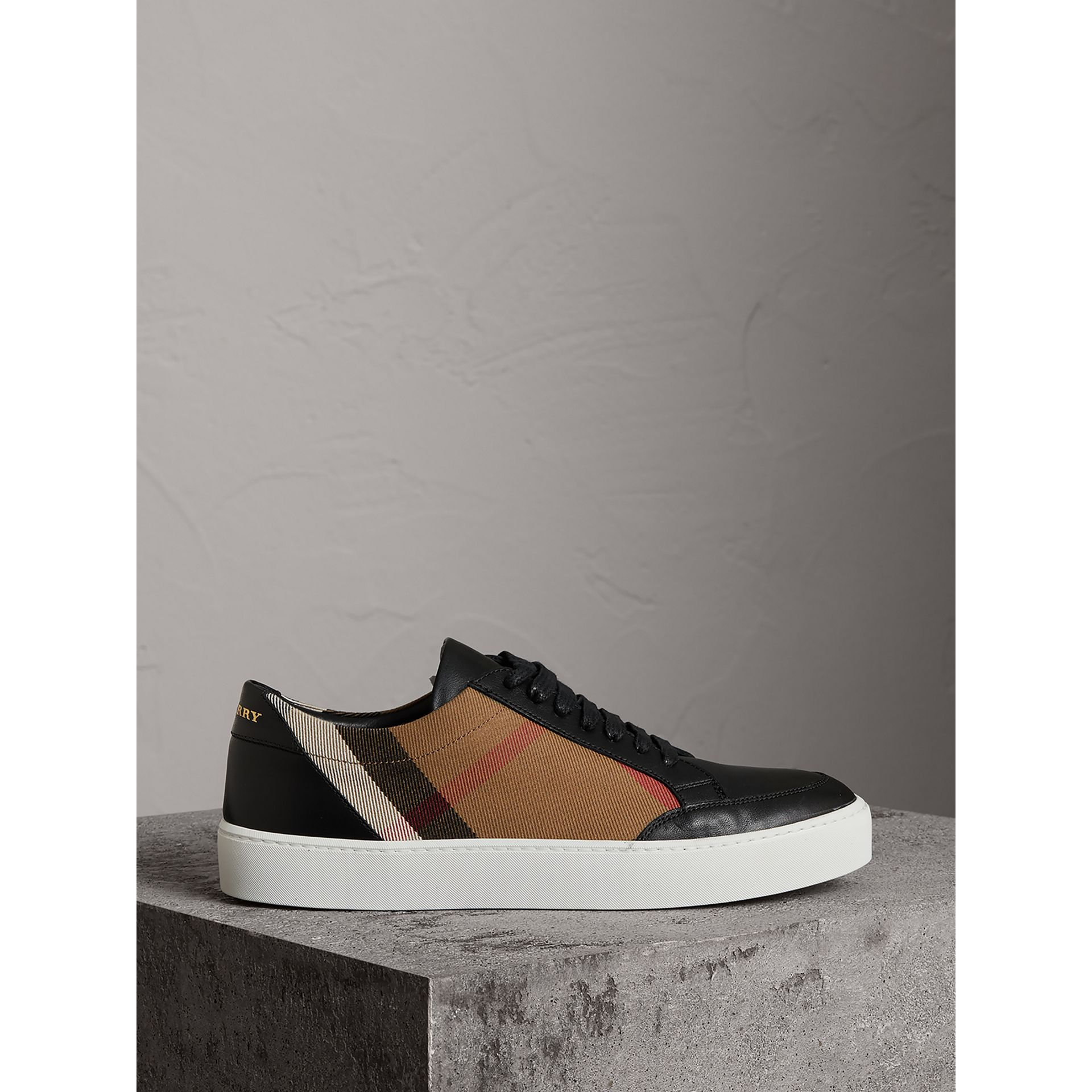 Check Detail Leather Sneakers in House Check/black - Women | Burberry United Kingdom - gallery image 4