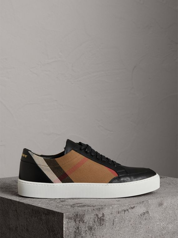Check Detail Leather Sneakers in House Check/black - Women | Burberry - cell image 3
