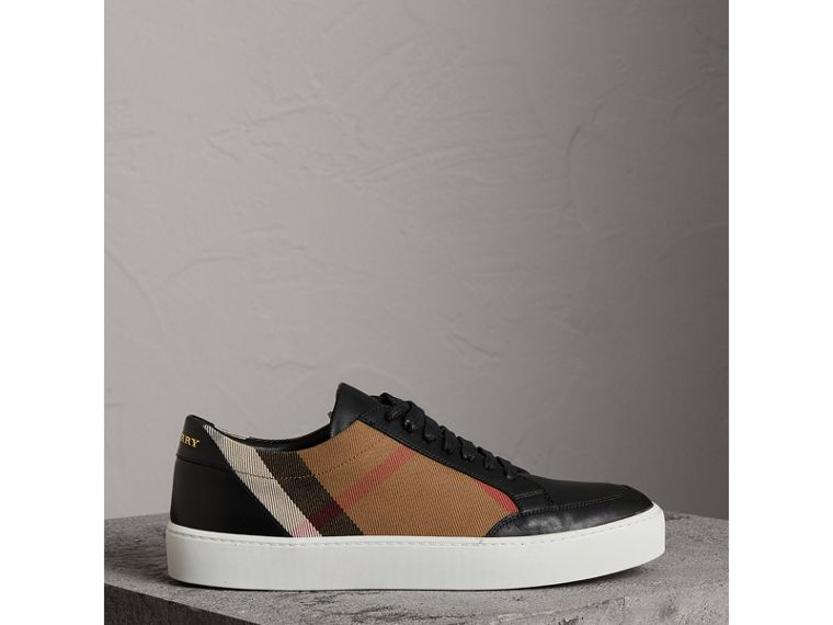 Check Detail Leather Sneakers in House Check/black - Women | Burberry Hong Kong - cell image 4